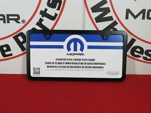 Dodge Ram Chrysler Jeep Satin Black License Plate Frame New Oem Mopar