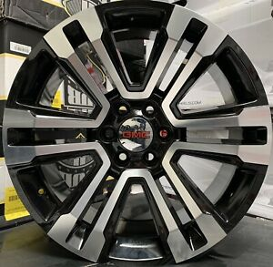 24 Gmc Yukon Sierra 1500 Chevy Silverado Tahoe Black Machine Wheels Tires Rims