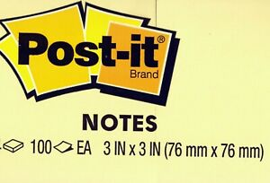 Genuine 3m Post it Brand Notes 3x3 Inch 100 Sheet Pad Canary Yellow Save On Qty