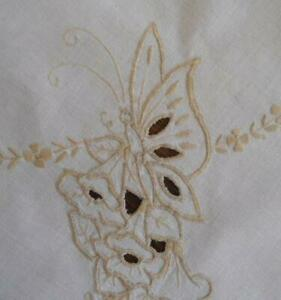 Vintage Linen Embroidered Tablecloth Butterflies Cutwork Flowers Ecru Hand Made