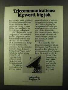 1973 United States Independent Telephone Association Ad - Big Word