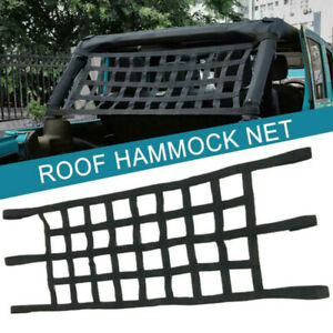 Black Roof Net Top Rack Cover Network Cargo For Jeep Wrangler Tj Jk Jl 1997 2019