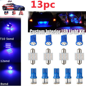 13pc Blue Led Lights Interior Package Kit For Dome License Plate Lamp Bulb Mod