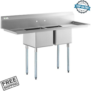 72 2 Compartment Stainless Steel 16 Gauge Commercial Sink With 2 Drainboards