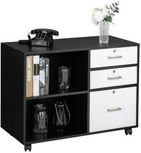 Wooden File Cabinets 3 Drawer Side Cabinets Wheels Office Storage Stand