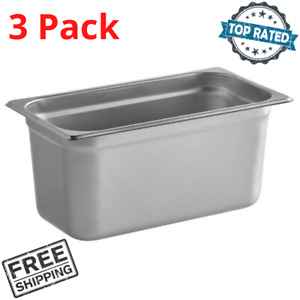 3 Pack 1 3 Size 6 Deep Stainless Steel Steam Table Hotel Buffet Food Pans New