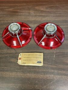 1963 Ford Galaxie 500 Xl Tail Light Back Up Lamp Lenses Pair Nors Glo Brite 820