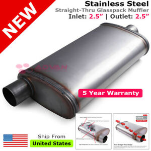 Stainless Steel Straight thru Muffler 2 5 Inches Offset In center Out 203359