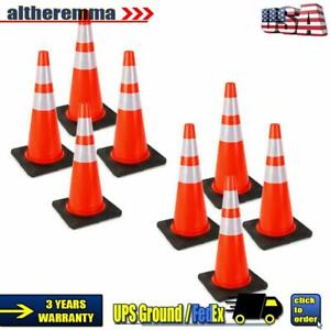 8pcs Pack 28 Pvc Traffic Safety Cones W Reflective Strip traffic Control Posts