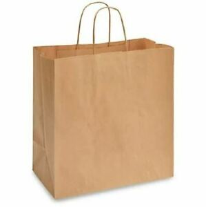 Rope Handle Paper Shopping Bags Eden 13x7x13 Natural Kraft 250 case