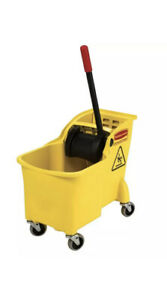 31 Qt Tandem Mop Bucket Rubbermaid Commercial Products Casters Pail Plastic