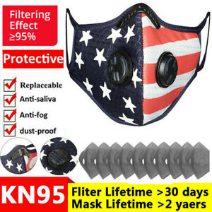American Flag Face Cover Nose Shield Filter Pads Gasket Unisex Reuse Washable