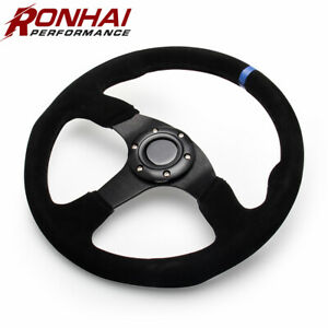 Blue Racing Steering Wheel 14 Inch 350mm Suede Leather Flat With Horn