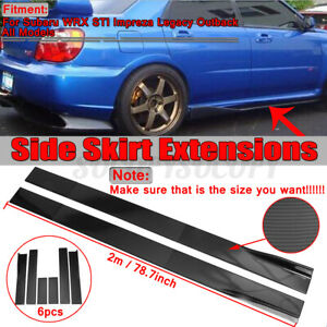 6 5ft Carbon Fiber Side Skirt Rocker Extension Lip For Subaru Impreza Wrx Sti