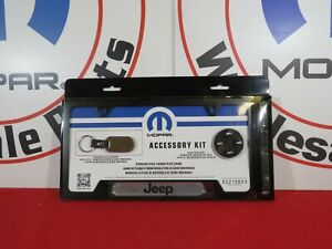 Jeep Black License Plate Frame Stem Caps Keychain Gift Set New Oem Mopar