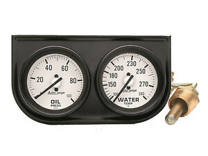 Auto Meter Autogage 2 Gauge Oil Press water Temp Black Console 2 1 16 White