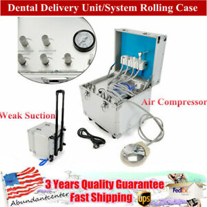 Portable Dental Mobile Rolling Case Delivery Unit 4 Hole Air Compressor suction