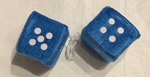 Blue Fuzzy Car Dice 2 X 2 5