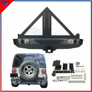 Triangular For 07 18 Jeep Wrangler Jk Rear Bumper W Winch And Tire Carrier