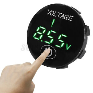 Green Led Digital Voltage Voltmeter Panel Monitor W touch Switch Panel 5v 48v Dc