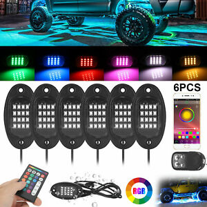 6pcs Rgb Led Rock Lights Under Wireless Bluetooth Music Lamp Car Off road Truck