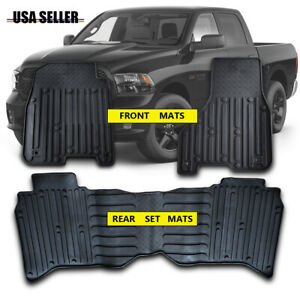 All Weather Protection Rubber Floor Mats Fits 2009 2018 Dodge Ram Truck Crew Cab