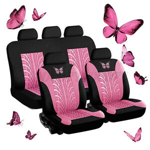 9pcs Set Universal Car 5 Seat Covers Protector Cushion 3d Butterfly Pattern Pink