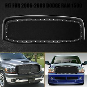 For 2006 2008 Dodge Ram 1500 Abs Black Rivet Style Wire Front Mesh Grille Shell