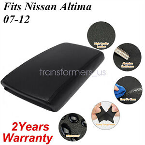 For 2007 2012 Nissan Altima Black Real Leather Center Console Armrest Cover