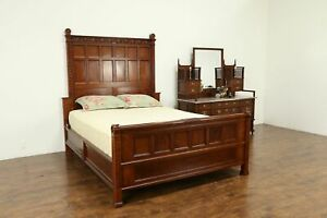 Carved Cherry Antique Bedroom Set Queen Size Bed Marble Top Dresser 31732