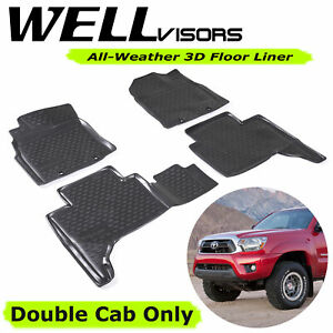 All Weather Black Floor Mats Lite For Toyota 12 15 Tacoma Wellvisors 3 864ty016