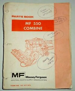 Massey Ferguson Mf 550 Combine Parts Catalog Manual Book Original 10 87