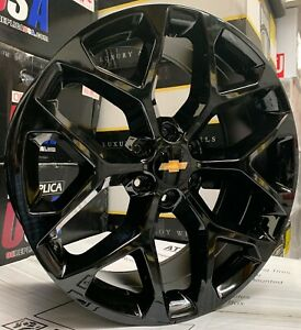 24 Chevy Silverado Tahoe Snowflake Black Wheels Tires Rims Gmc Yukon Sierra