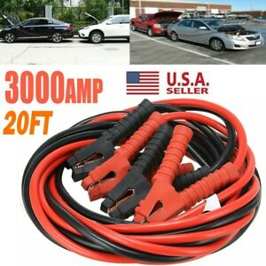3000amp Booster Cables Jumper Leads 20ft Heavy Duty Car Van Clamps Start 0 Gauge