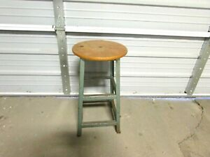 Vintage Wood Green Metal Industrial Metal Shop Stool 24 Tall 13 Seat Diam