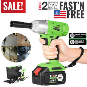 Electric Brushless Impact Wrench Drill Cordless Speed Set W Lithium ion Battery