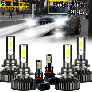 For Jeep Grand Cherokee 99 04 Led Projector Headlights Fog Bulbs Kit 6000k White