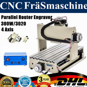 300w Parallel 4 Axis Cnc 3020 Router Engraver Engraving Machine Carving Cutter