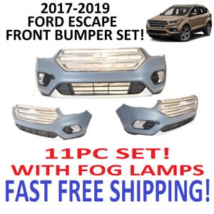 2017 2018 2019 Ford Escape Front Bumper Cover With Grills And Fog Lamps New