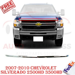 Front Grille Hood Molding Chrome For 2007 2010 Chevrolet Silverado 2500hd 3500hd