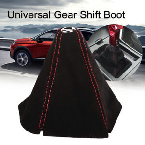 Universal Frosted Leather Car Gear Shift Knob Boot Gear Head Dust Cover Red Line