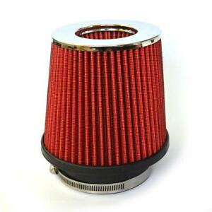 3 Inch New Inlet Short Ram Cold Air Intake Round Cone Air Filter Chrome Red