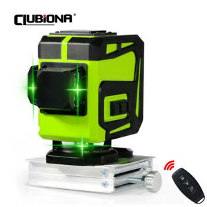 Clubiona 3d Green Laser Level Self leveling 12 Cross Lines W Remote Control Kit