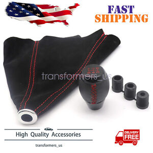 Fit For Honda Civic Si Coupe 5 Speed Leather Shift Knob Suede Boot Red Stitch Us