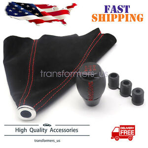 Black Leather Shift Knob Suede Boot Red Stitch Combo For Honda Civic Si 5 Speed