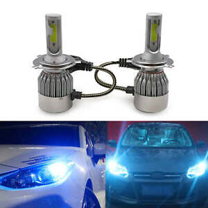 H4 9003 Led Headlight Bulbs Kit Upgrade High low Beam 55w 8000lm 8000k Ice Blue
