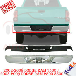 Rear Step Bumper Chrome Steel Pad For 02 08 Dodge Ram 1500 03 09 Ram 2500 3500