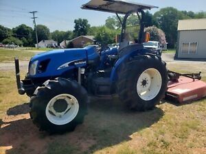 2007 New Holland Tn60a 4x4 Tractor W Bush Hog