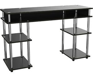 Computer Laptop Table Desk Drawer Keyboard Tray Shelves Office Home Black New