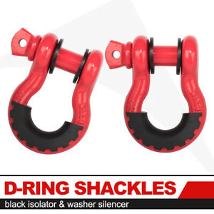 2x D Ring Bow Shackle W Isolator Tow Strap Winch Off road Truck Recovery